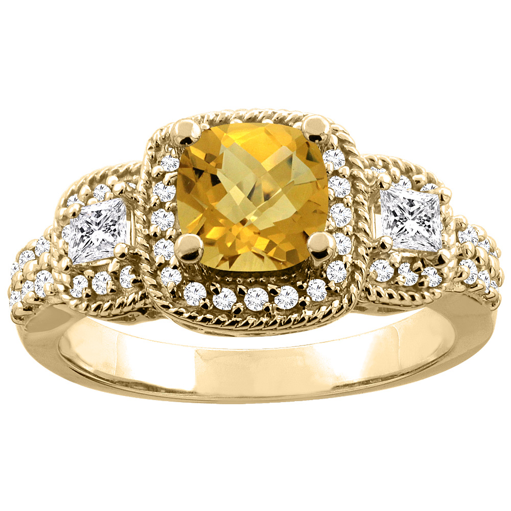 14K Yellow Gold Natural Whisky Quartz Ring Cushion-cut 6x6 mm Diamond Accent, sizes 5 - 10