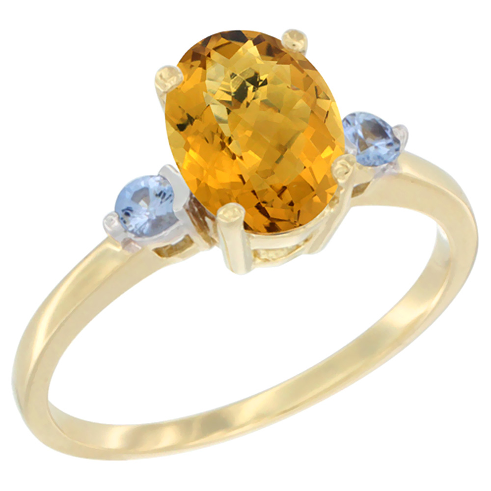 14K Yellow Gold Natural Whisky Quartz Ring Oval 9x7 mm Light Blue Sapphire Accent, sizes 5 to 10