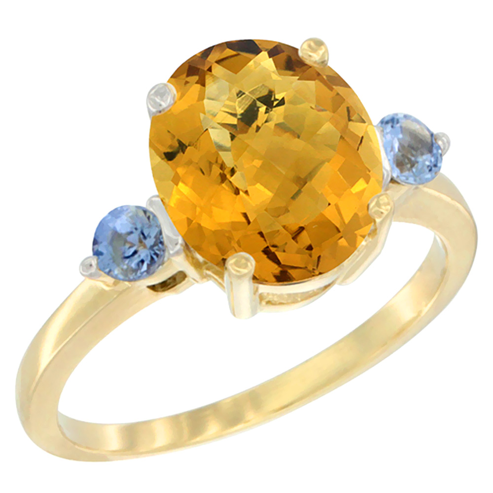 14K Yellow Gold Natural Whisky Quartz Ring Oval 10x8mm Light Blue Sapphire Accent, sizes 5 - 10