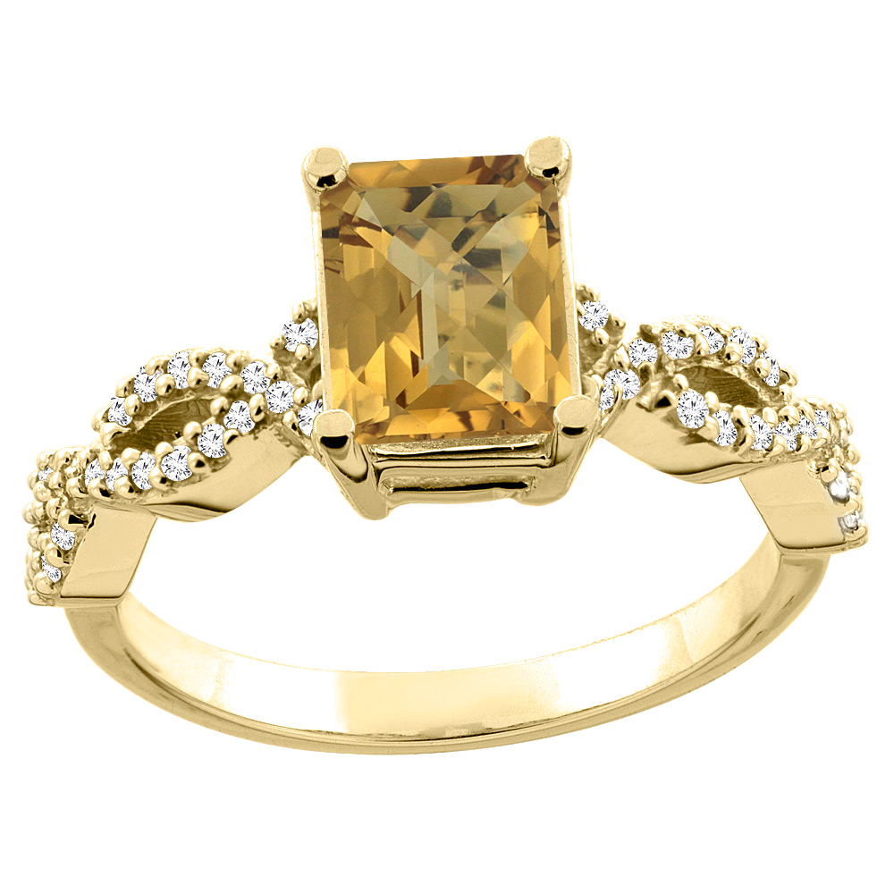 14K White/Yellow Gold/Yellow Gold Natural Whisky Quartz Ring Octagon 8x6mm Diamond Accent, sizes 5 - 10
