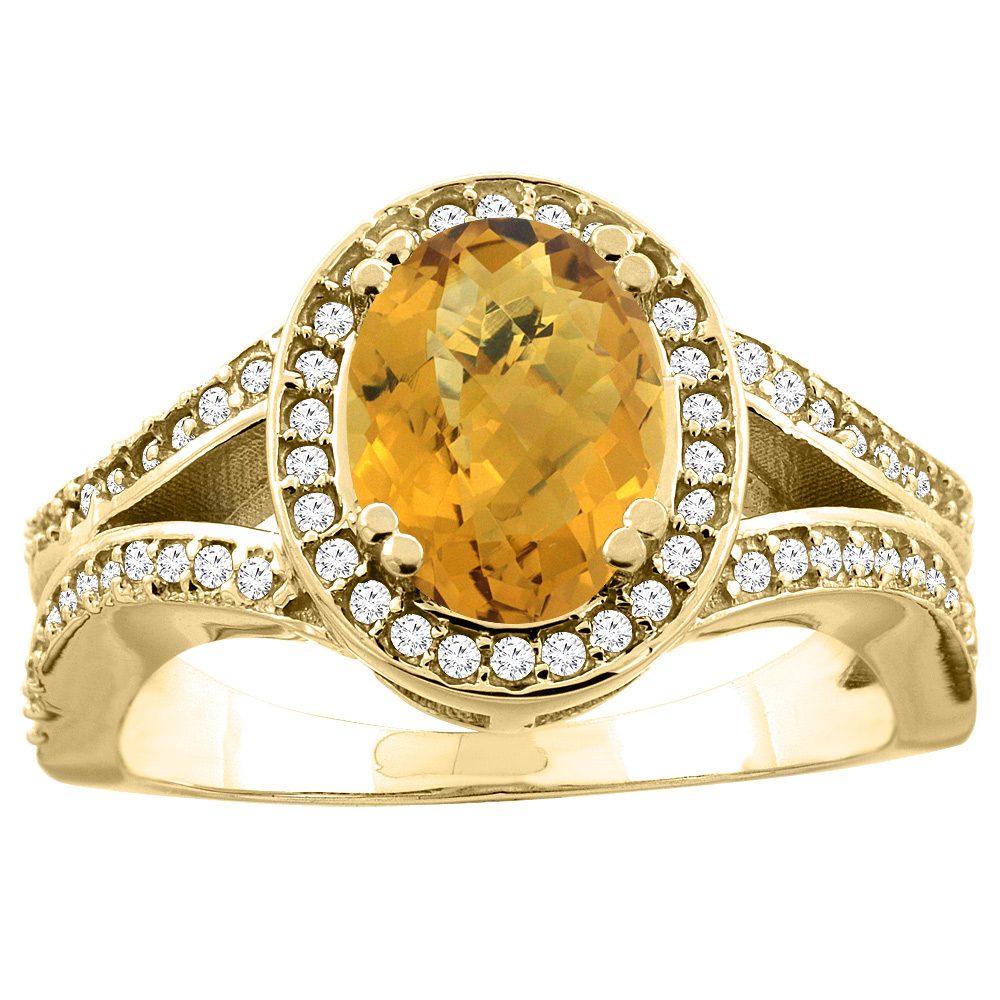 14k Gold Diamond Halo Genuine Gemstone Color Ring Split Shank Oval 8x6mm, size 5-10