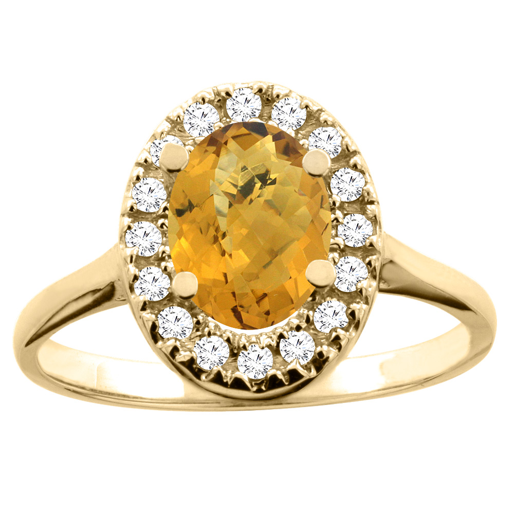 14K White/Yellow Gold Natural Whisky Quartz Ring Oval 8x6mm Diamond Accent, sizes 5 - 10