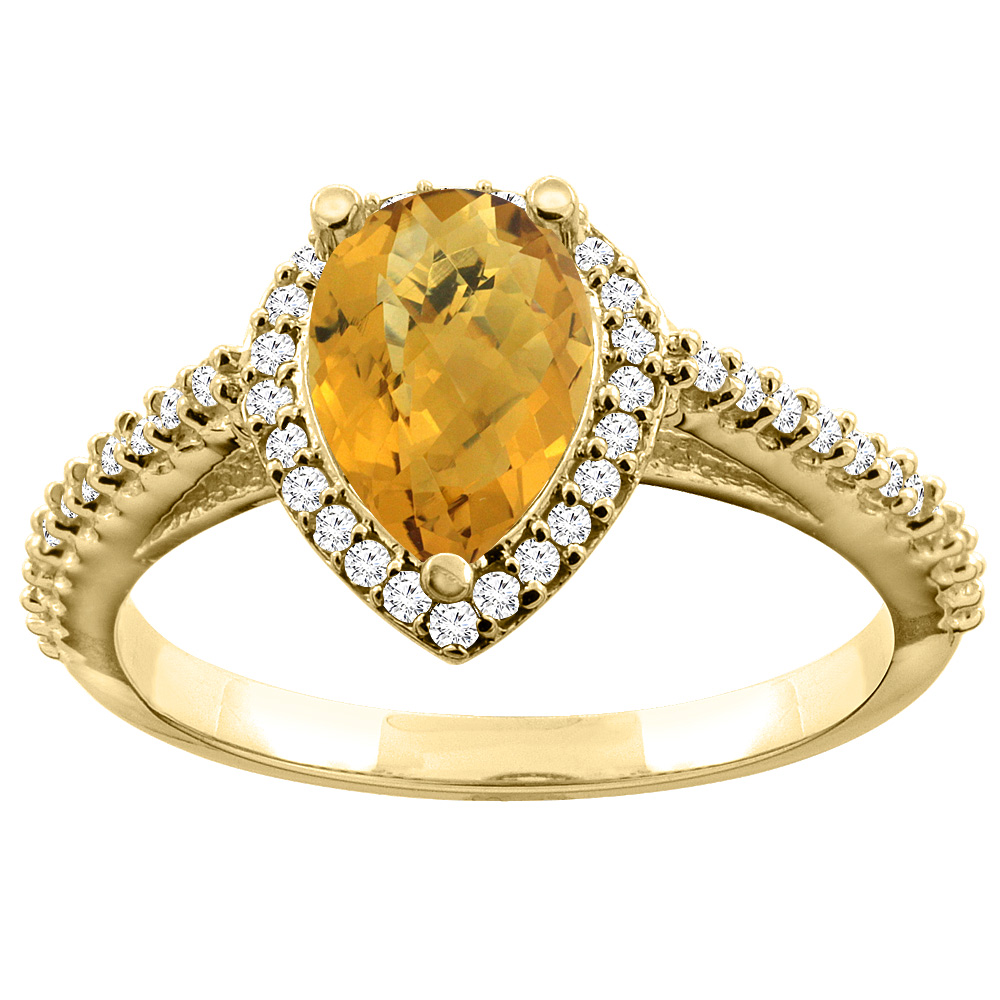 14K Yellow Gold Natural Whisky Quartz Ring Pear 9x7mm Diamond Accents, sizes 5 - 10