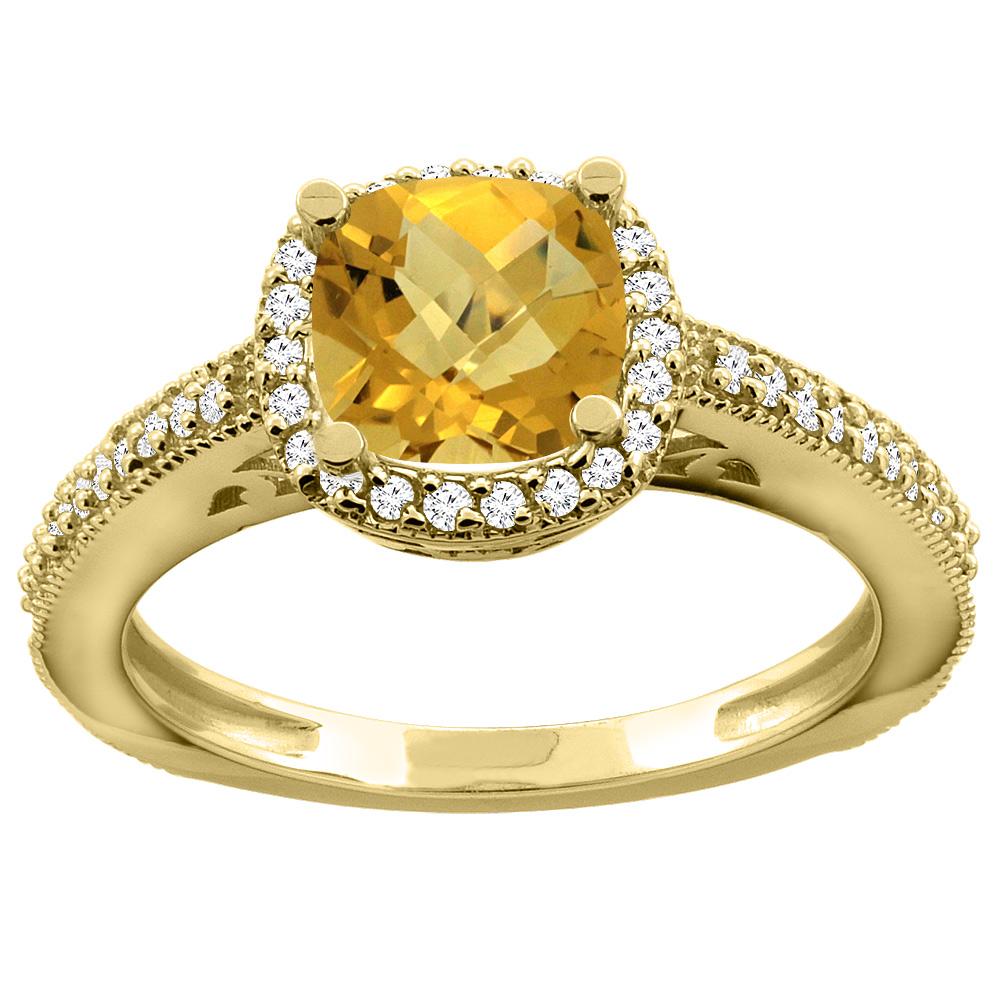 14K Yellow Gold Natural Whisky Quartz Engagement Ring Diamond Halo Cushion 7mm, sizes 5 - 10