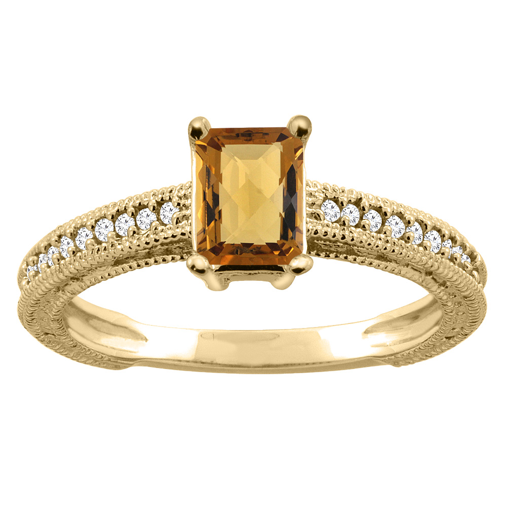 14K Gold Natural Whisky Quartz Engagement Ring Octagon 8x6mm Diamond Accents, sizes 5 - 10