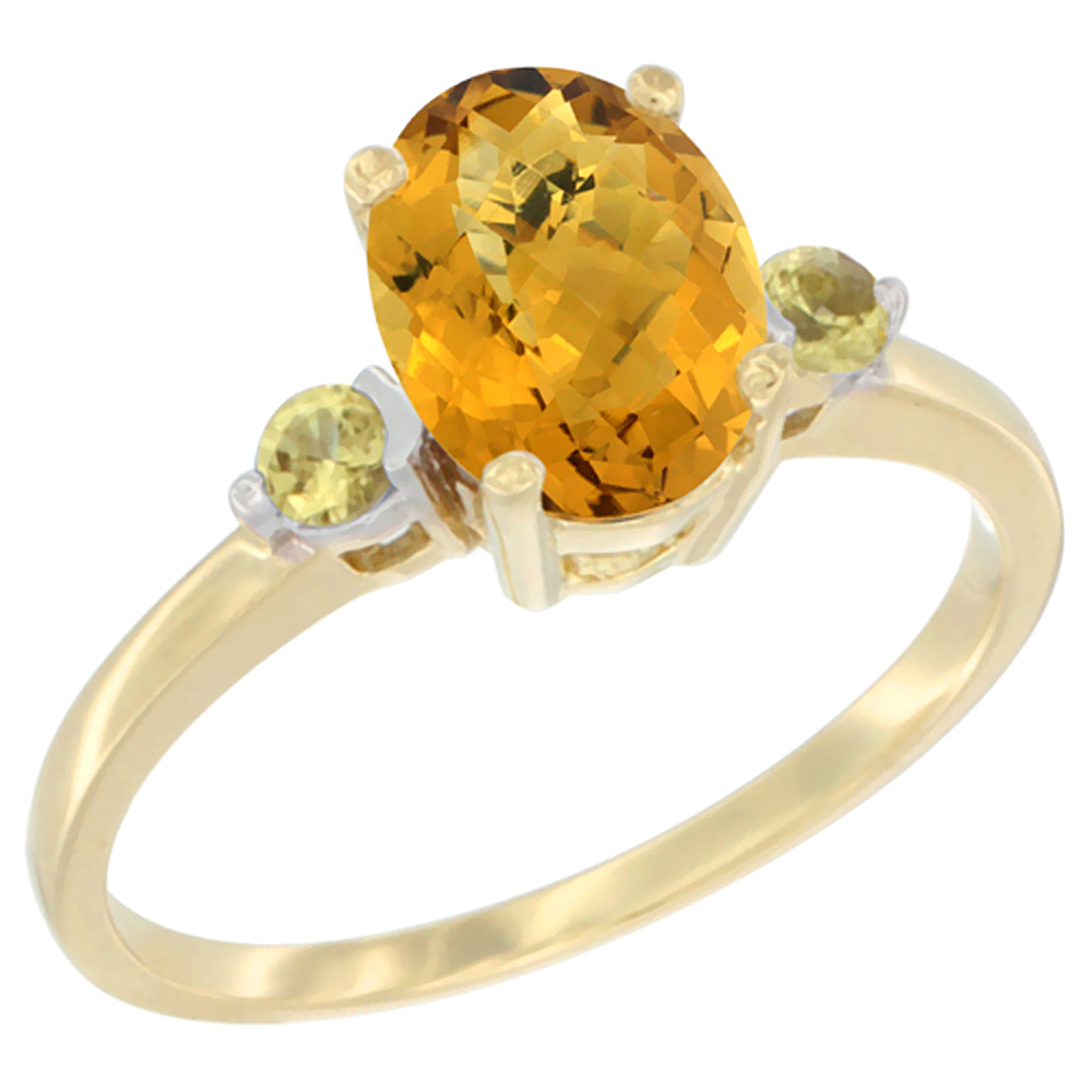 14K Yellow Gold Natural Whisky Quartz Ring Oval 9x7 mm Yellow Sapphire Accent, sizes 5 to 10