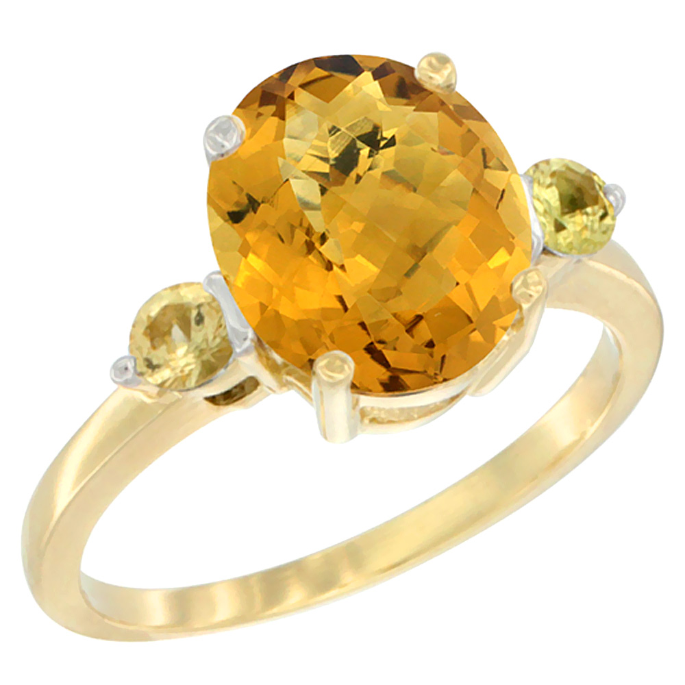 14K Yellow Gold Natural Whisky Quartz Ring Oval 10x8mm Yellow Sapphire Accent, sizes 5 - 10