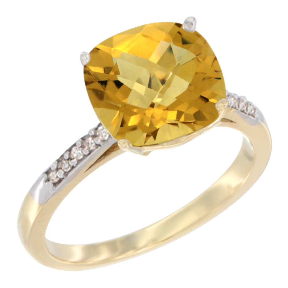 14K Yellow Gold Natural Whisky Quartz Ring 9 mm Cushion-cut Diamond accent, sizes 5 - 10