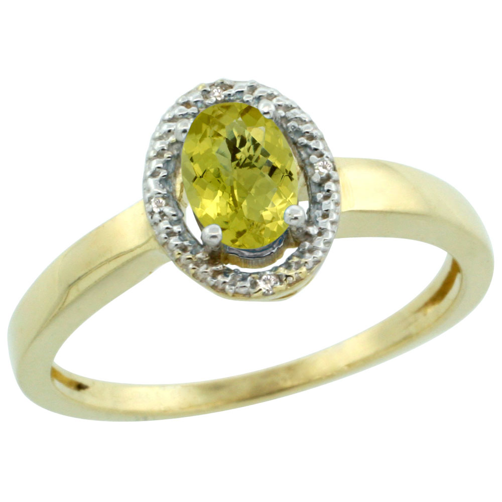 14K Yellow Gold Diamond Halo Natural Lemon Quartz Engagement Ring Oval 6X4 mm, sizes 5-10