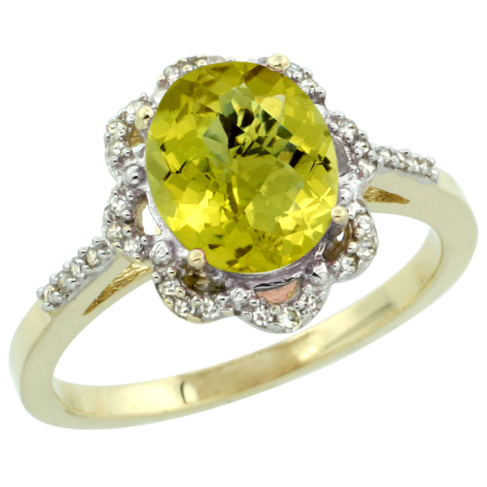 14K Yellow Gold Diamond Halo Natural Lemon Quartz Engagement Ring Oval 9x7mm, sizes 5-10