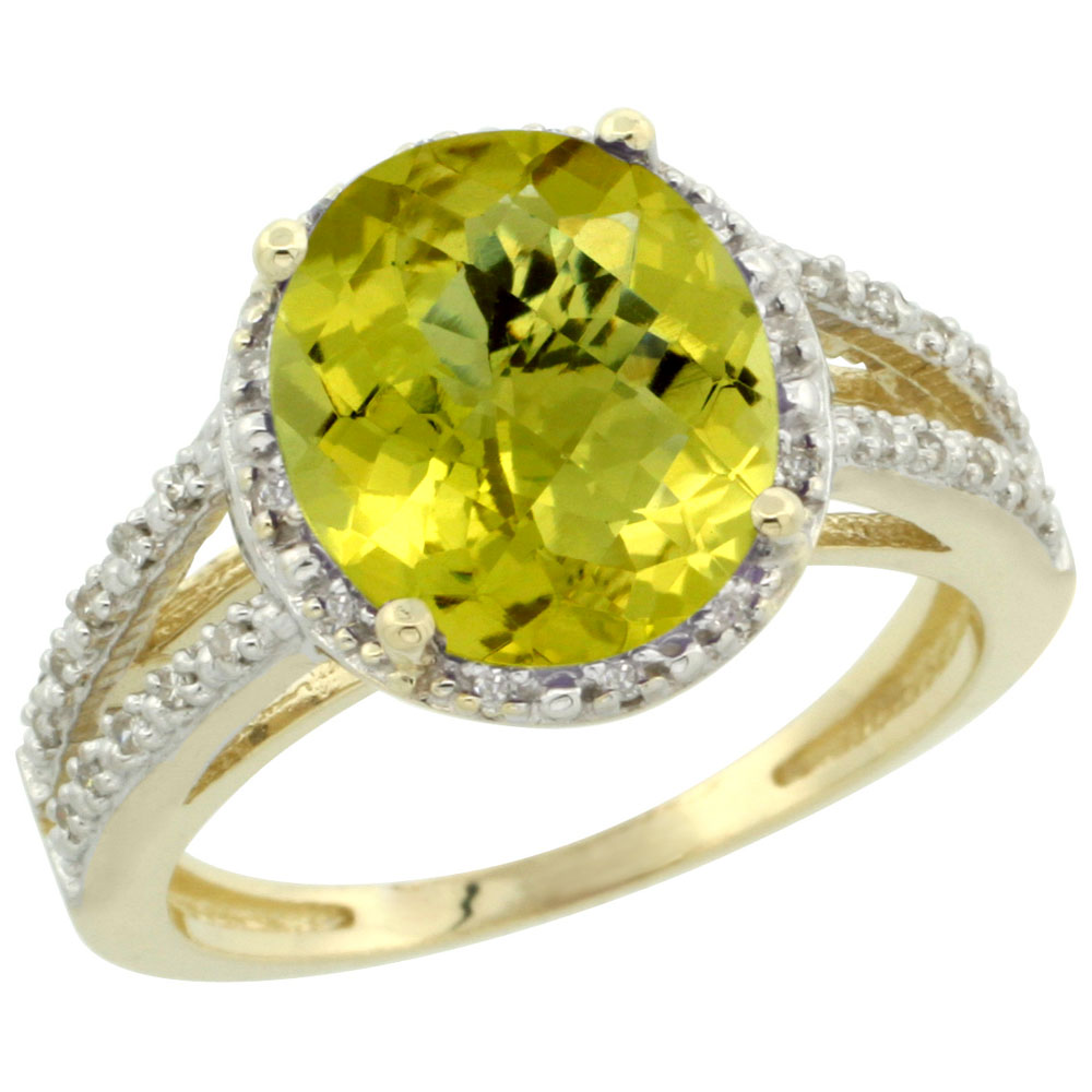 14K Yellow Gold Natural Lemon Quartz Diamond Halo Ring Oval 11x9mm, sizes 5-10