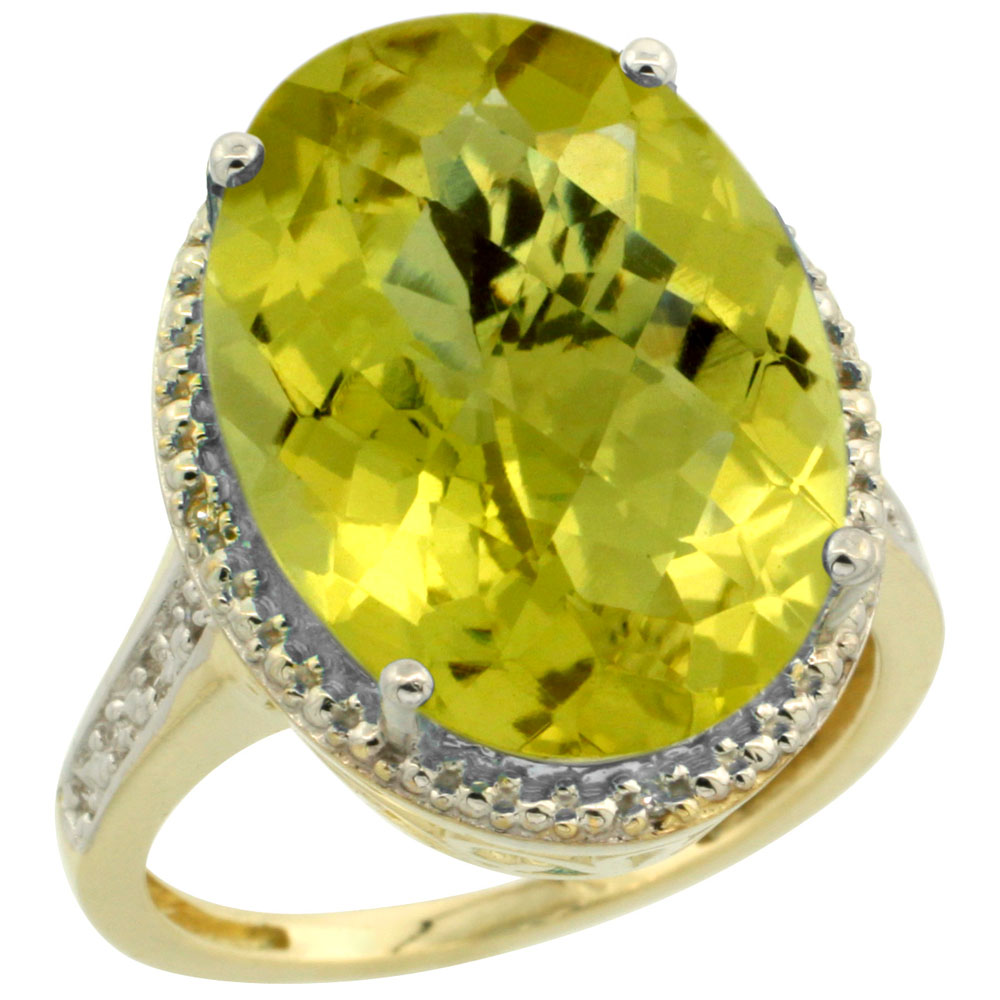 14K Yellow Gold Diamond Natural Lemon Quartz Ring Oval 18x13mm, sizes 5-10