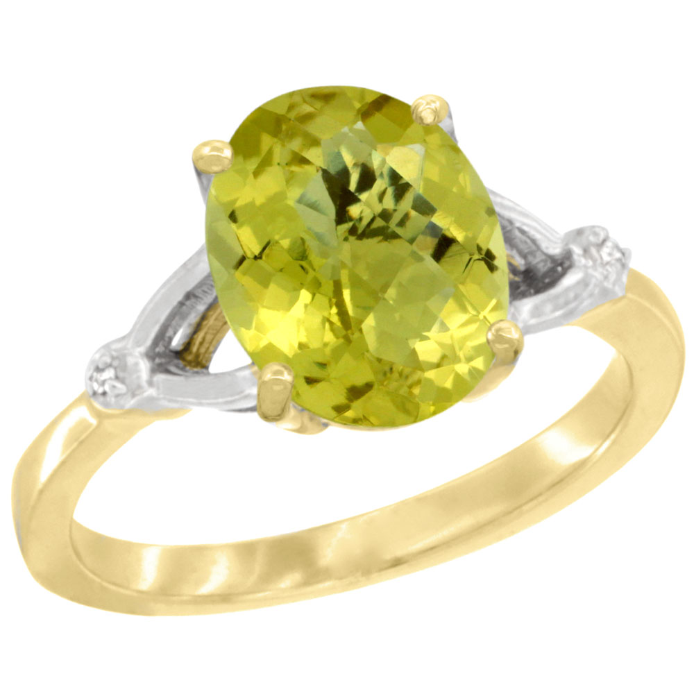 14K Yellow Gold Diamond Natural Lemon Quartz Engagement Ring Oval 10x8mm, sizes 5-10