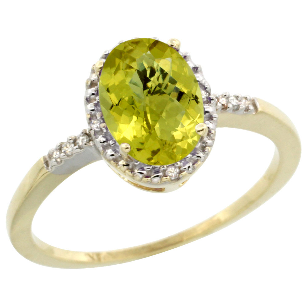 14K Yellow Gold Diamond Natural Lemon Quartz Ring Oval 8x6mm, sizes 5-10