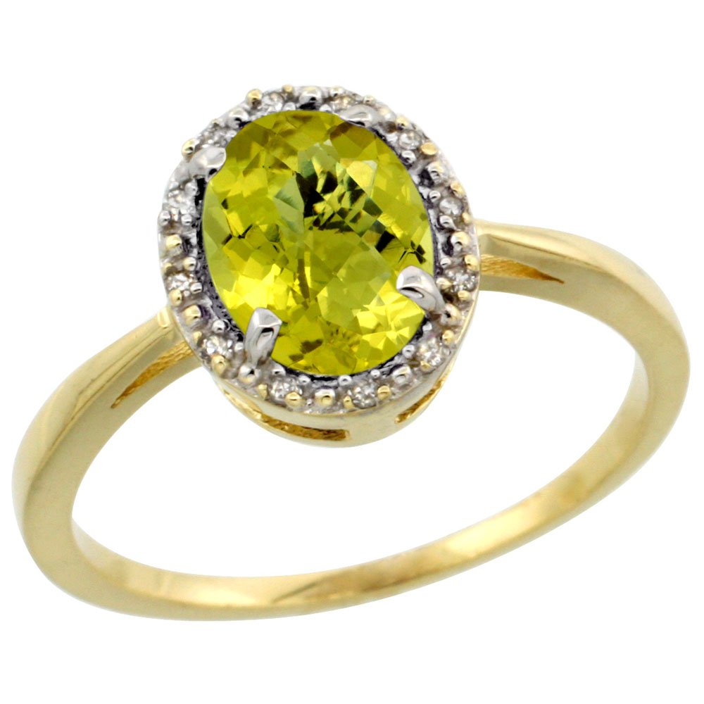 10k Yellow Gold Natural Lemon Quartz Ring Oval 8x6 mm Diamond Halo, sizes 5-10
