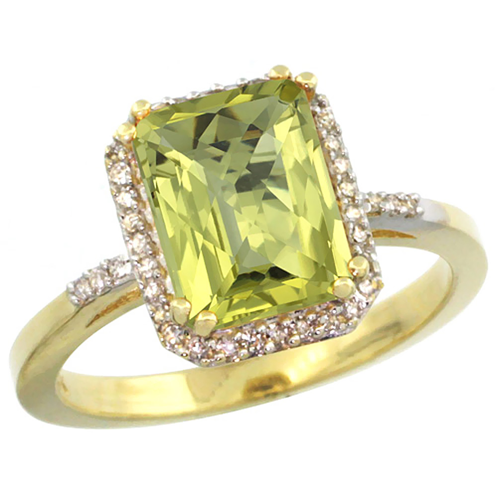 10K Yellow Gold Diamond Natural Lemon Quartz Ring Emerald-cut 9x7mm, sizes 5-10
