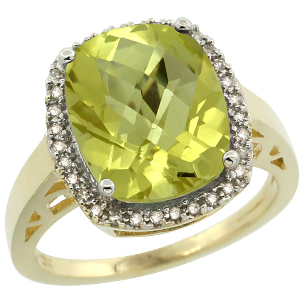 14K Yellow Gold Diamond Natural Lemon Quartz Ring Cushion-cut 12x10mm, size 5-10
