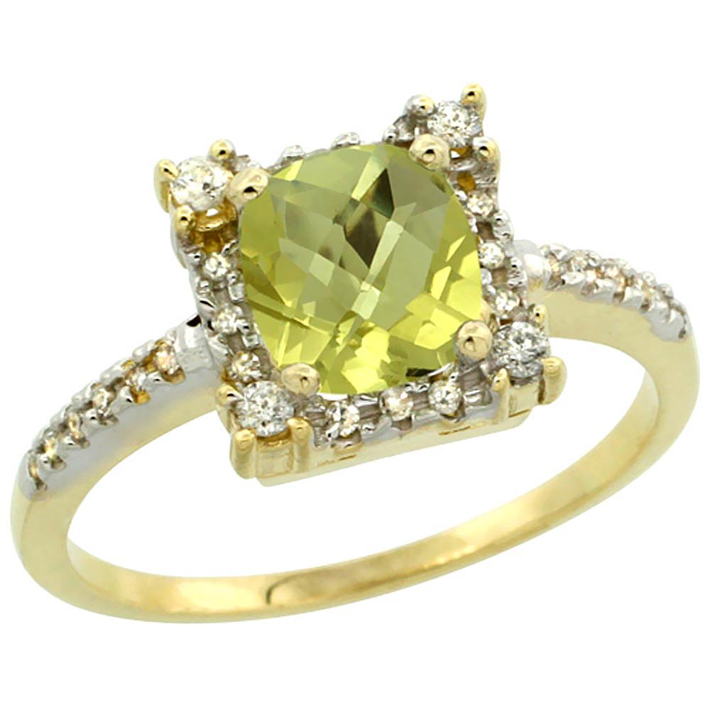 14K Yellow Gold Natural Lemon Quartz Ring Cushion-cut 6x6mm Diamond Halo, sizes 5-10