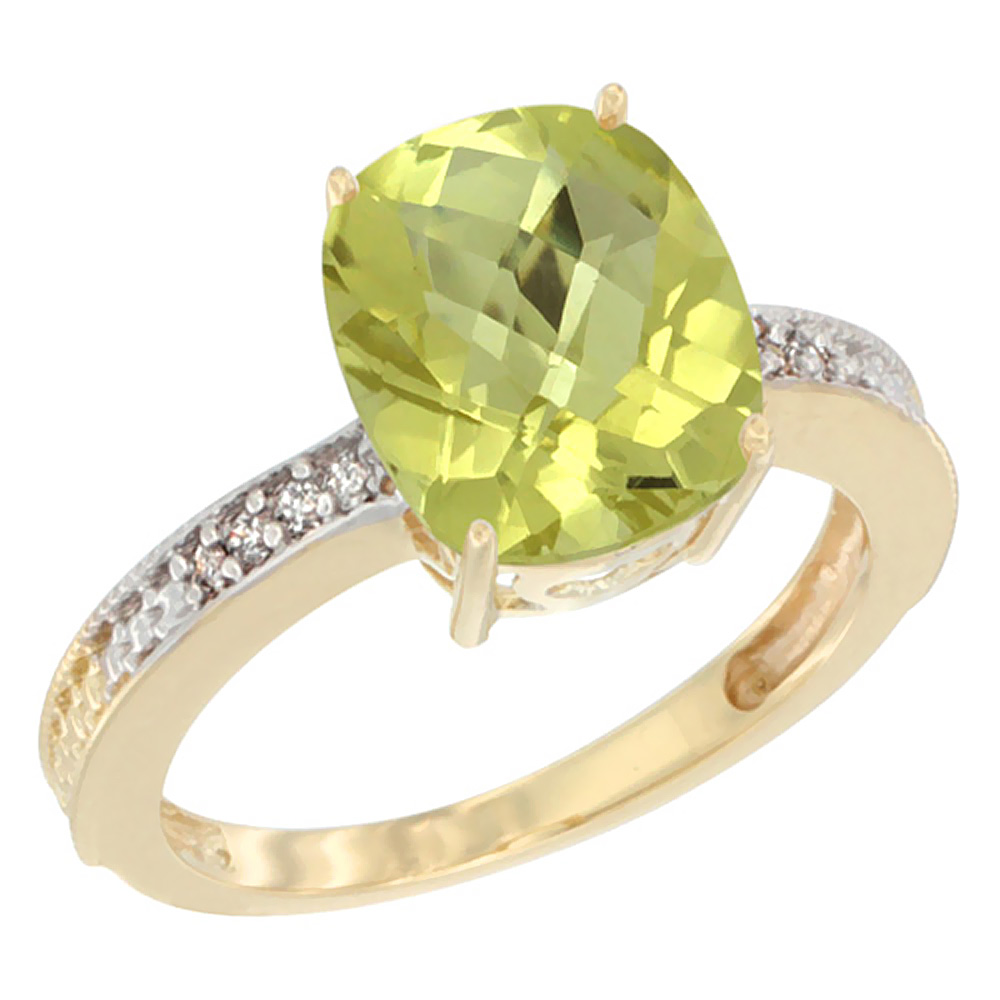 10K Yellow Gold Diamond Cushion 10x8 mm Natural Lemon Quartz Stone Ring, sizes 5 - 10