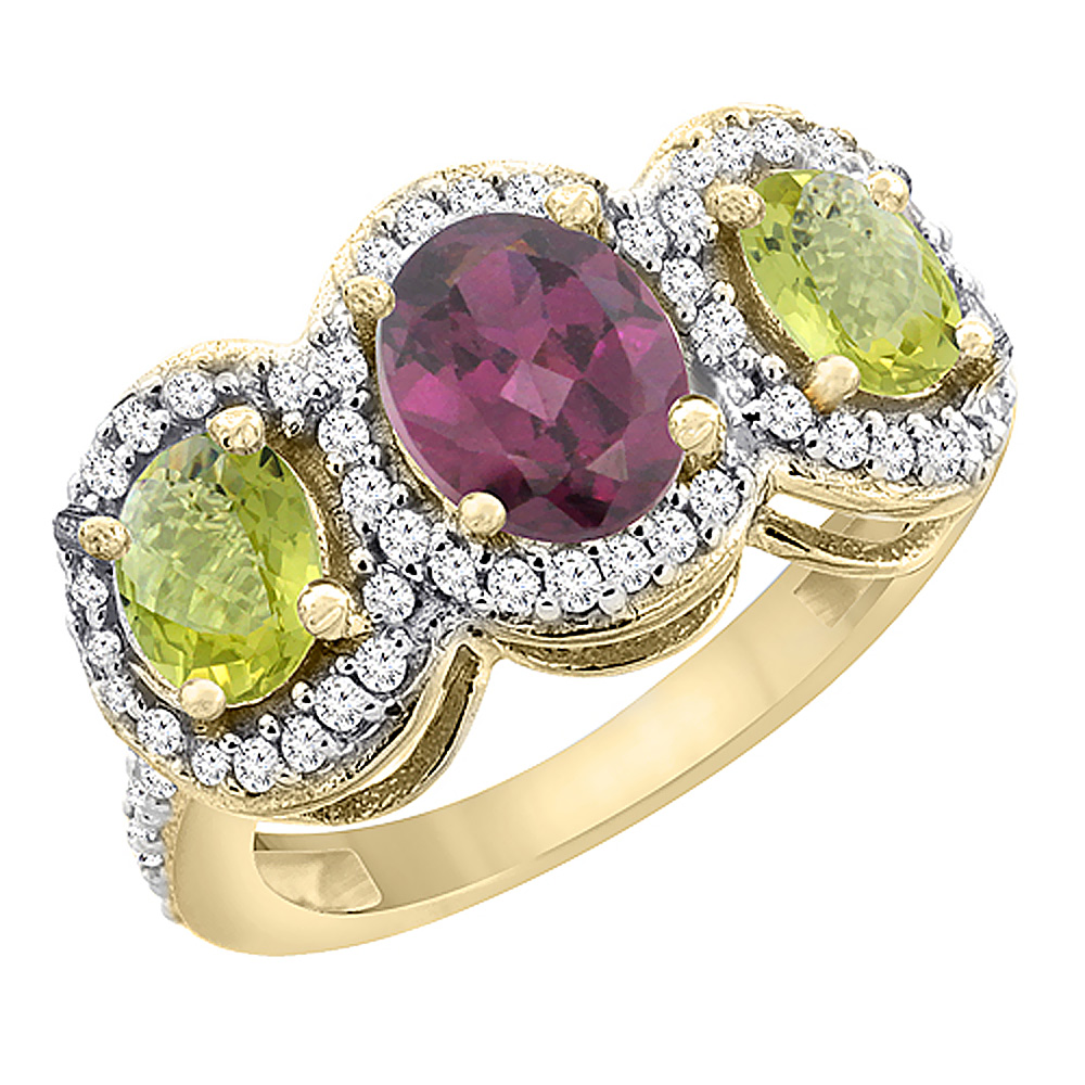 14K Yellow Gold Natural Rhodolite & Lemon Quartz 3-Stone Ring Oval Diamond Accent, sizes 5 - 10