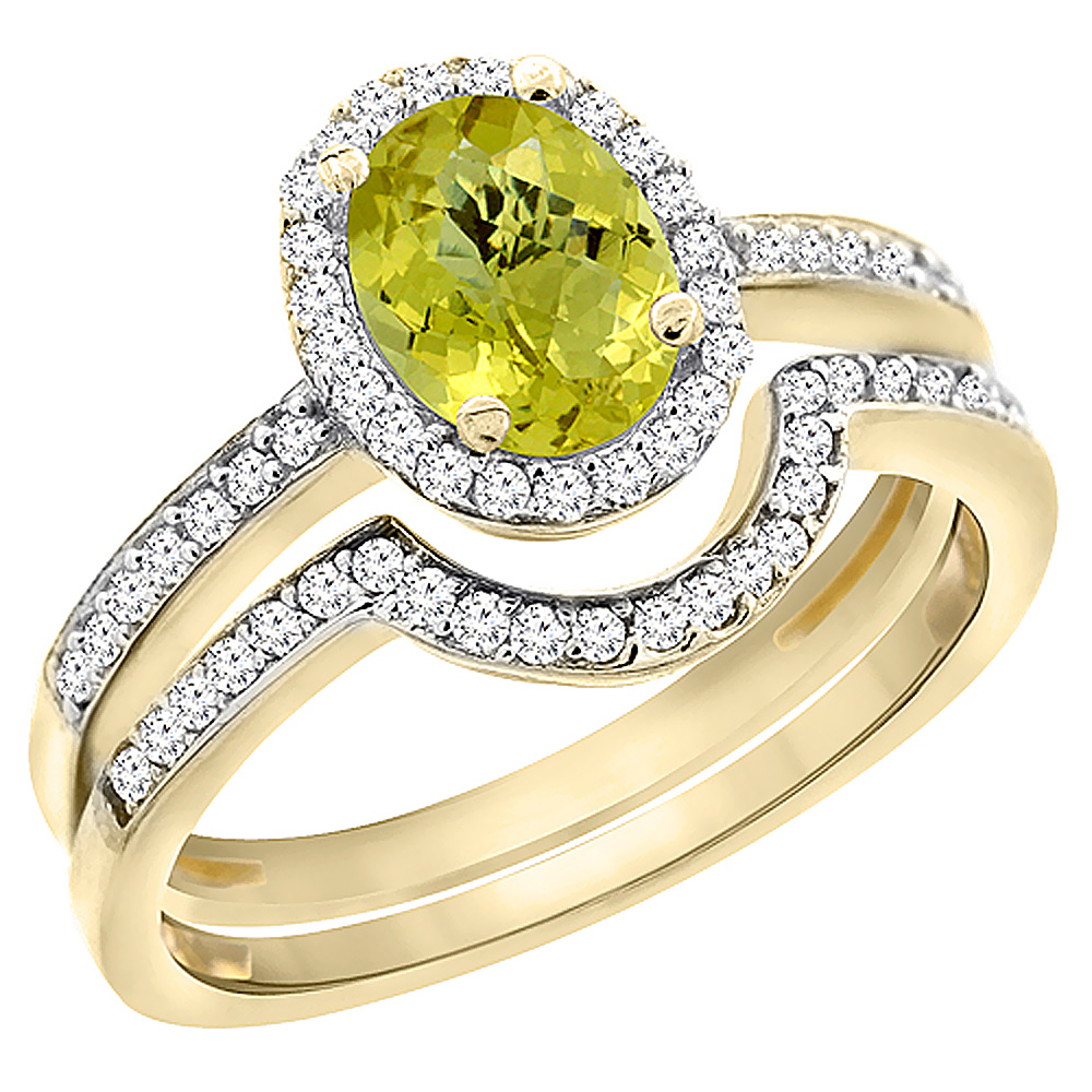 10K Yellow Gold Diamond Natural Lemon Quartz 2-Pc. Engagement Ring Set Oval 8x6 mm, sizes 5 - 10