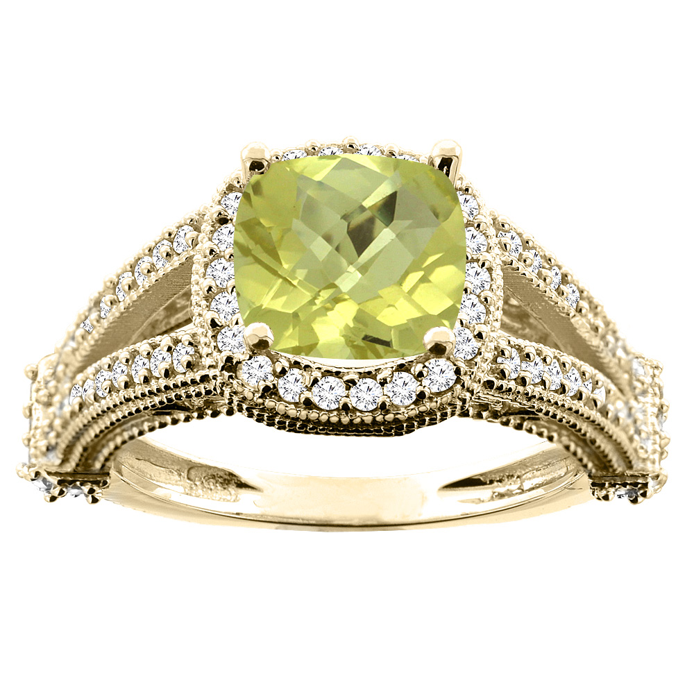 10K White/Yellow/Rose Gold Natural Lemon Quartz Split Shank Ring Cushion 7x7mm Diamond Accent, sizes 5 - 10