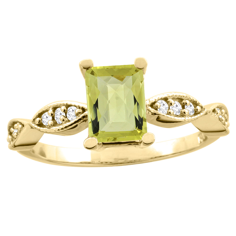 10K White/Yellow Gold Natural Lemon Quartz Ring Octagon 8x6mm Diamond Accent, sizes 5 - 10