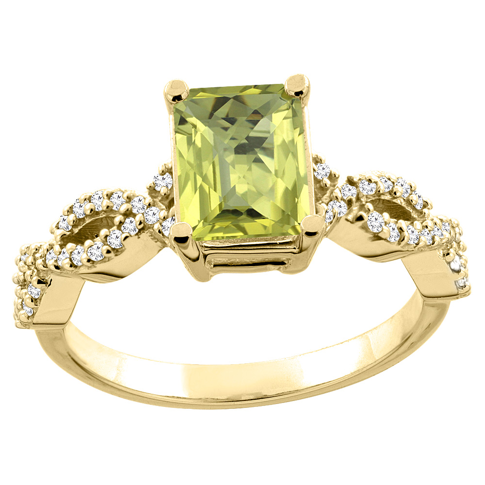 10K White/Yellow Gold/Yellow Gold Natural Lemon Quartz Ring Octagon 8x6mm Diamond Accent, sizes 5 - 10