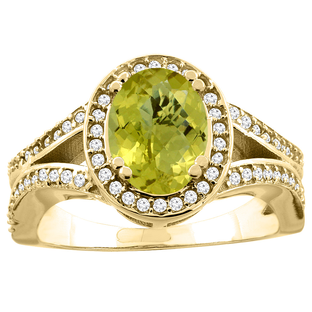 10K White/Yellow Gold Natural Lemon Quartz Split Ring Oval 8x6mm Diamond Accent, sizes 5 - 10