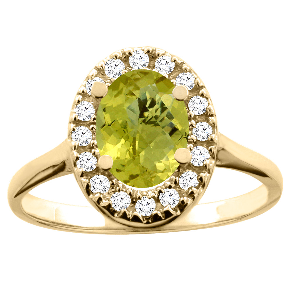 10K White/Yellow Gold Natural Lemon Quartz Ring Oval 8x6mm Diamond Accent, sizes 5 - 10