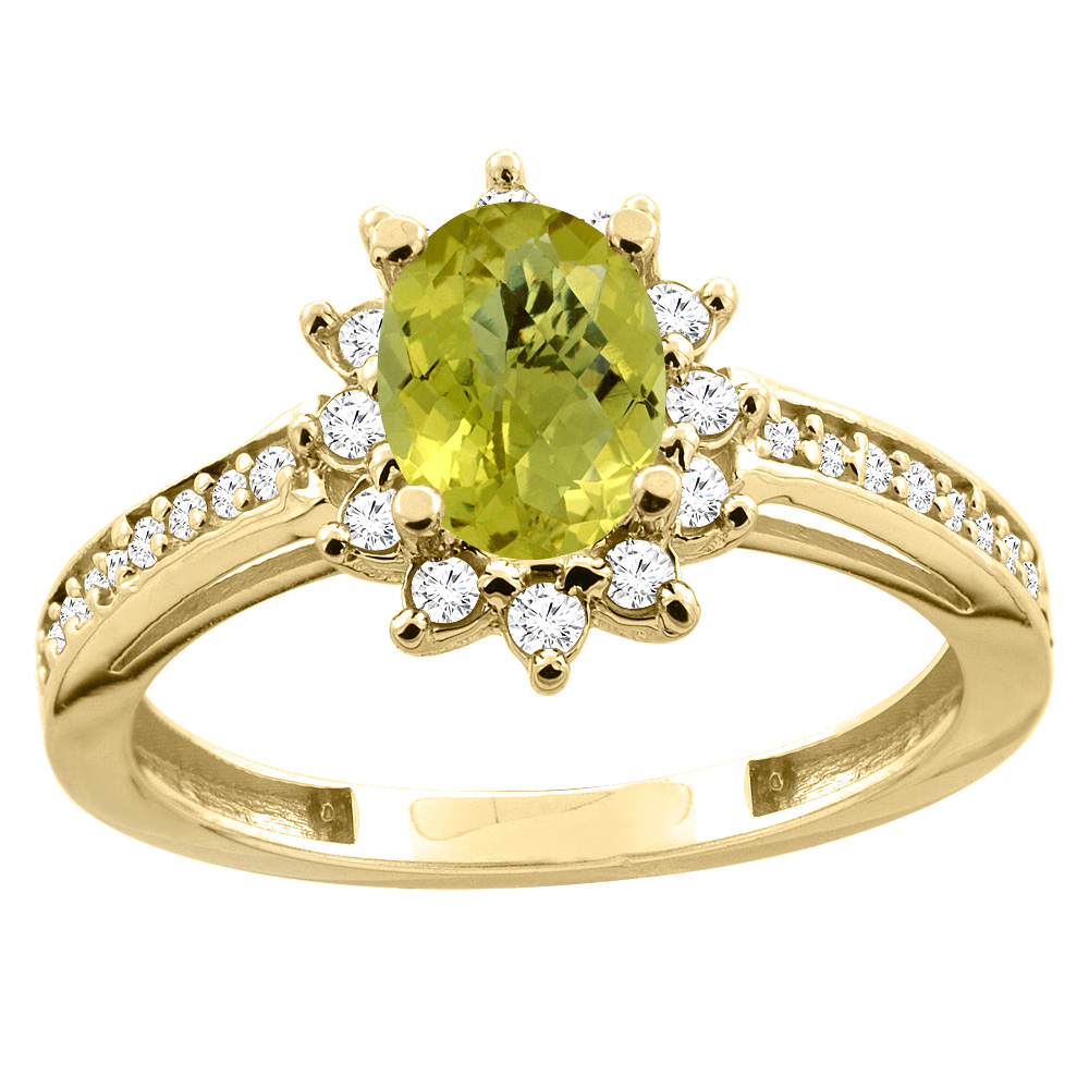 10K White/Yellow Gold Diamond Natural Lemon Quartz Floral Halo Engagement Ring Oval 7x5mm, sizes 5 - 10