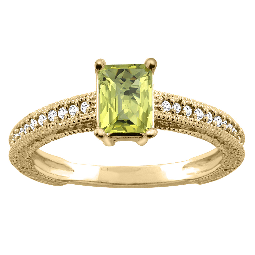 10K Gold Natural Lemon Quartz Engagement Ring Octagon 8x6mm Diamond Accents, sizes 5 - 10