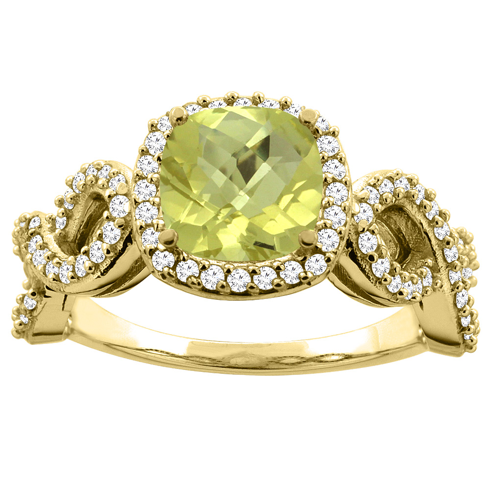 10K Gold Natural Lemon Quartz Engagement Ring Cushion 7mm Eternity Diamond Accents, sizes 5 - 10