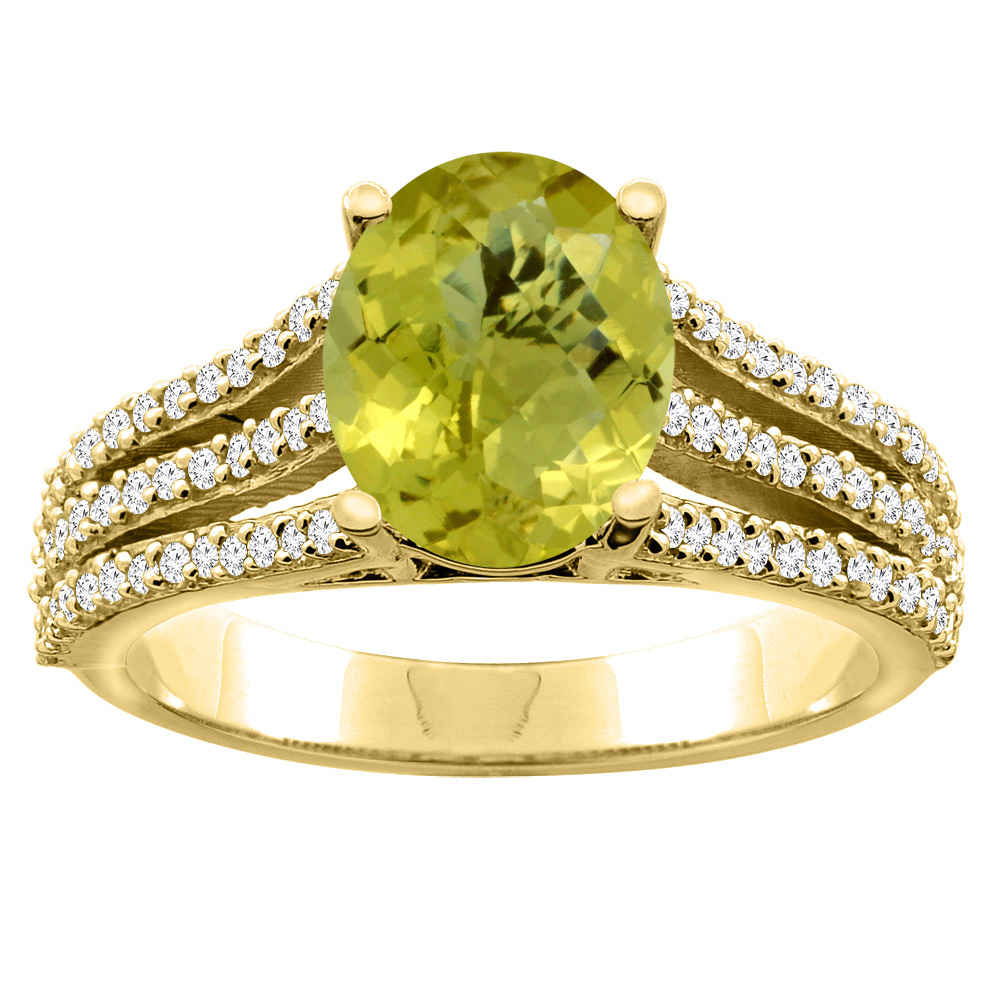 10K White/Yellow Gold Natural Lemon Quartz Tri-split Ring Oval 9x7mm Diamond Accents, sizes 5 - 10