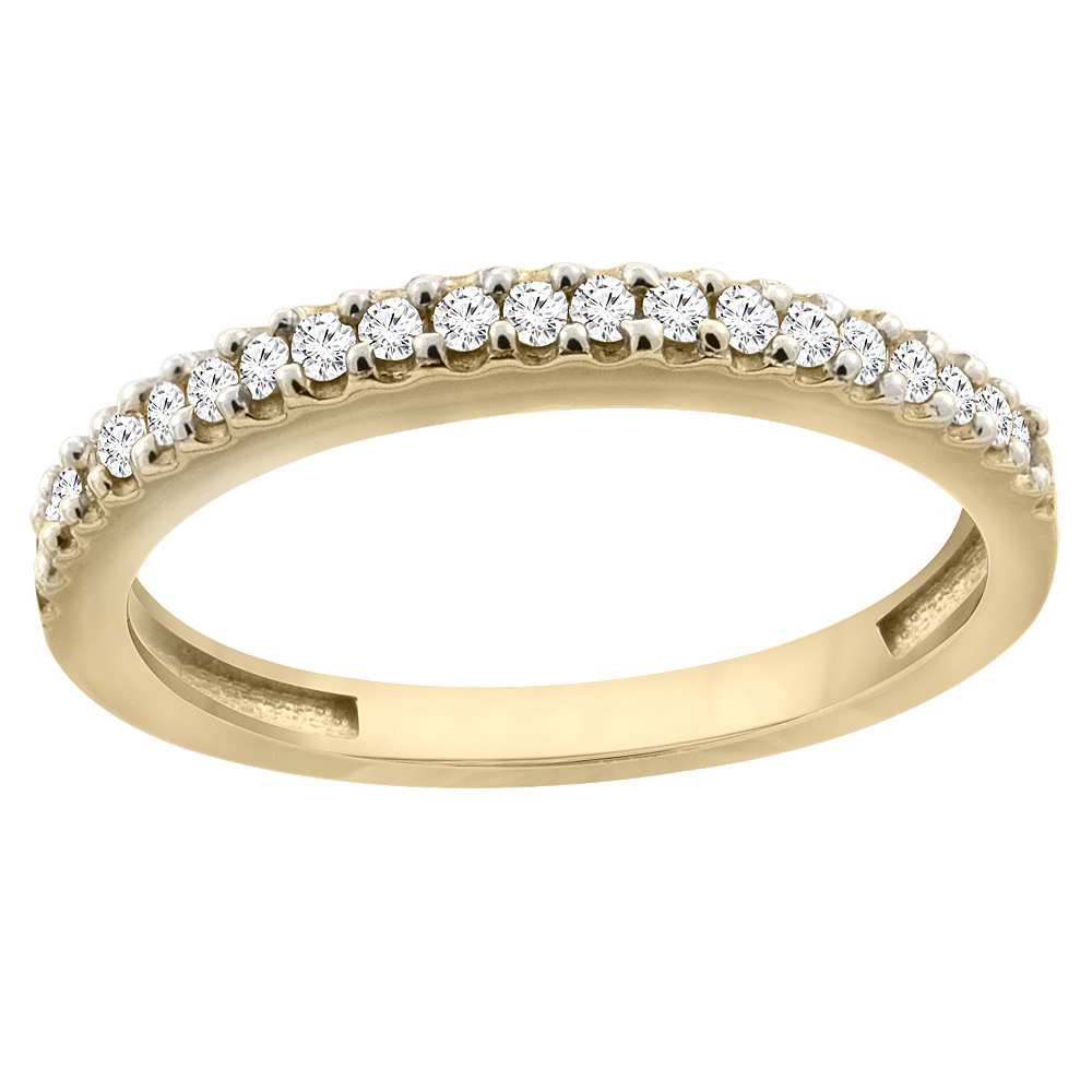10K Yellow Gold Diamond Wedding Band Ring Half Eternity, sizes 5 - 10