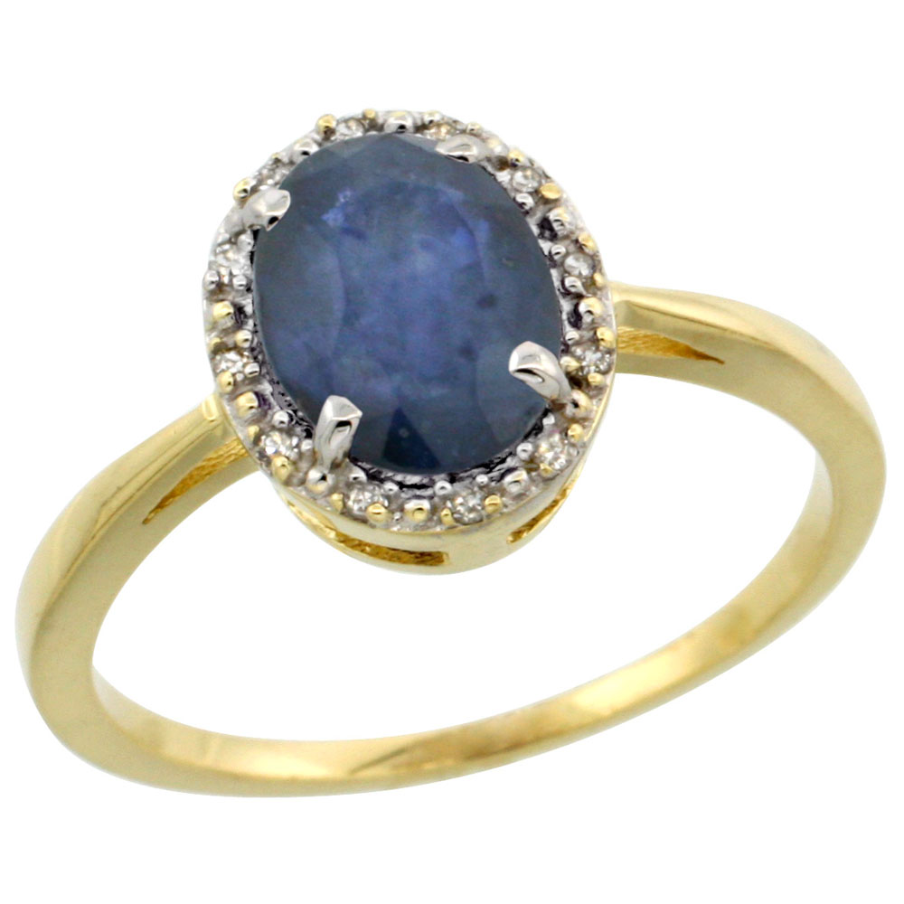 10k Yellow Gold Natural Australian Sapphire Ring Oval 8x6 mm Diamond Halo, sizes 5-10