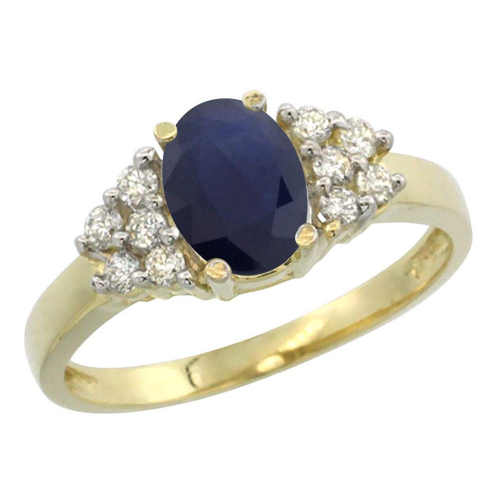 14K Yellow Gold Natural Australian Sapphire Ring Oval 8x6mm Diamond Accent, sizes 5-10
