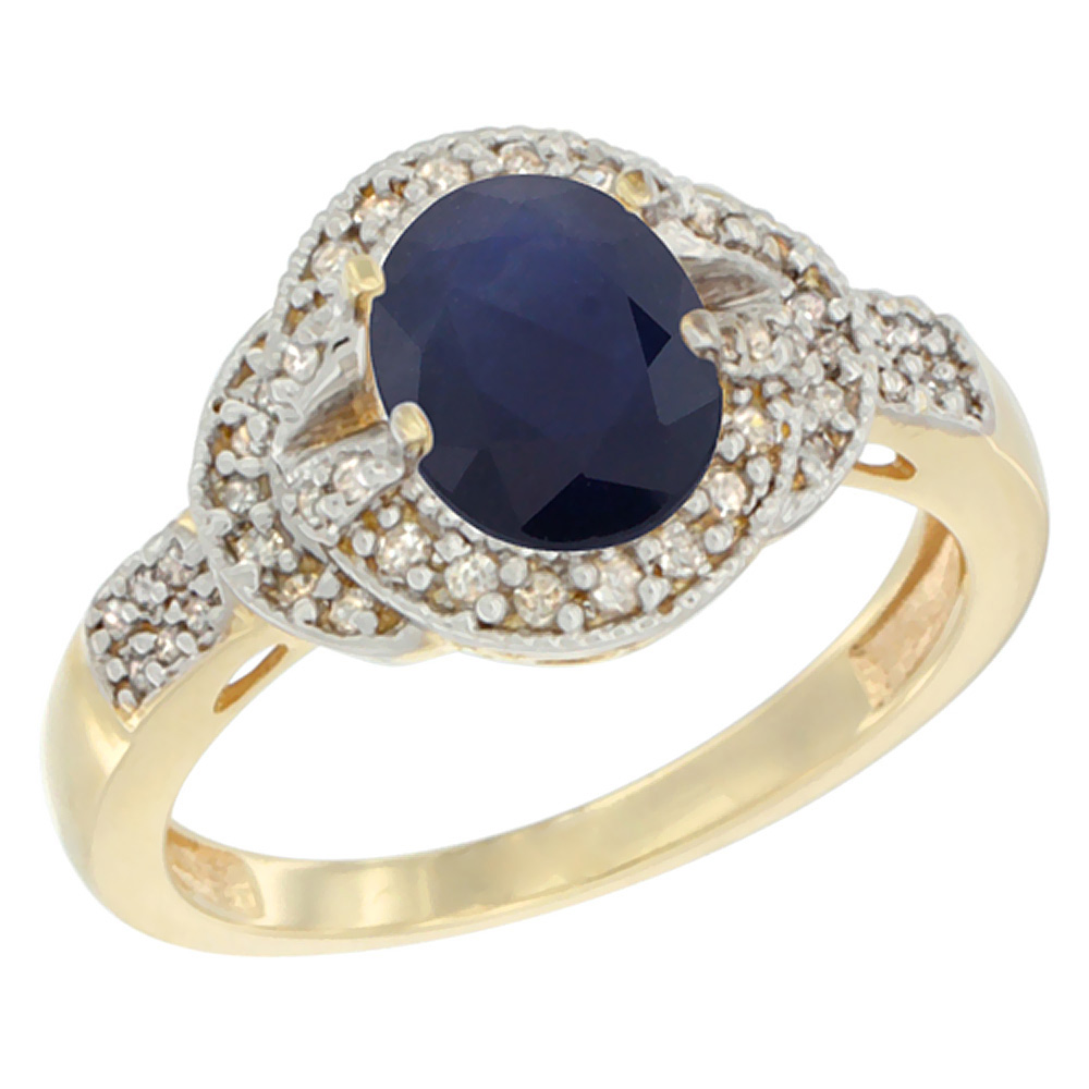 14K Yellow Gold Natural Australian Sapphire Ring Oval 8x6 mm Diamond Accent, sizes 5 - 10