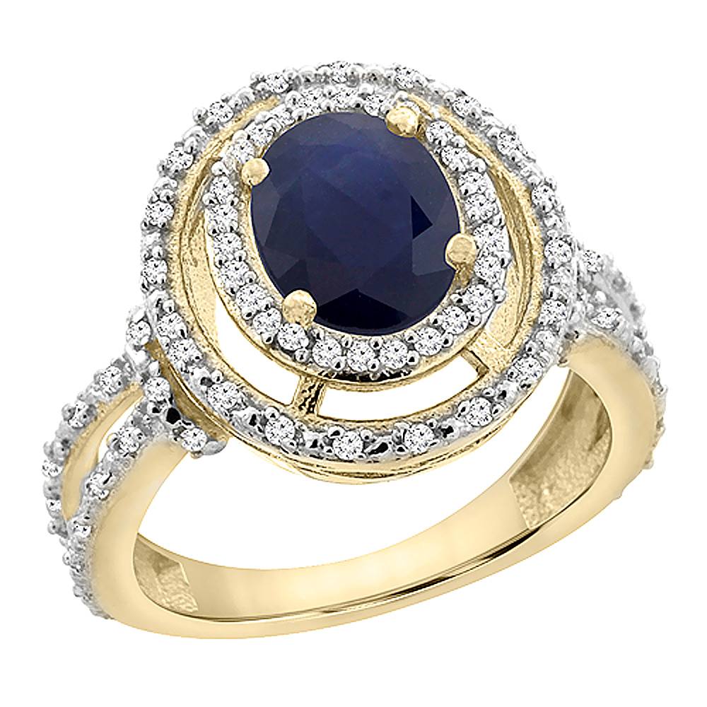 14K Yellow Gold Natural Australian Sapphire Ring Oval 8x6 mm Double Halo Diamond, sizes 5 - 10
