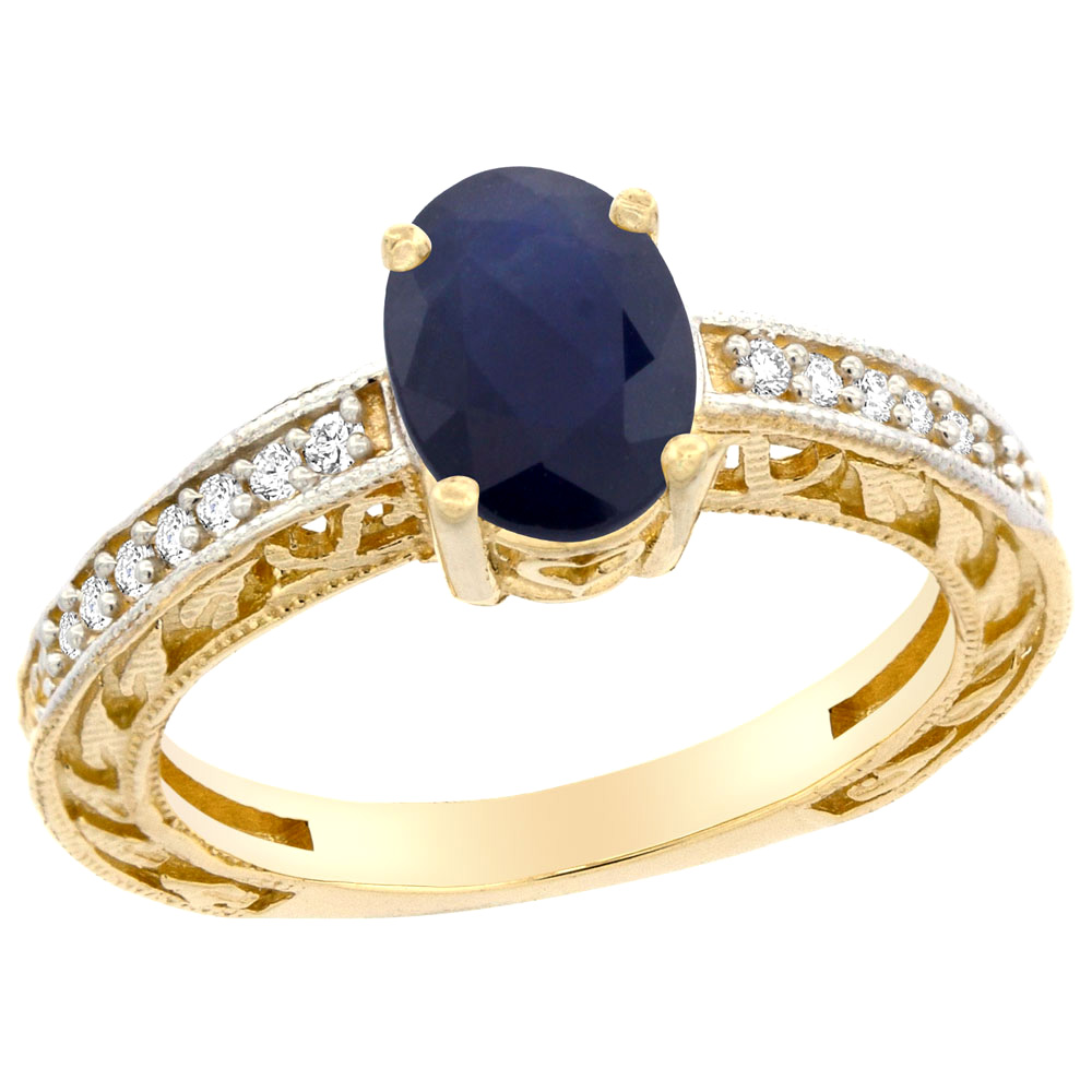 14K Gold Natural Australian Sapphire Ring Oval 8x6 mm Diamond Accents, sizes 5 - 10