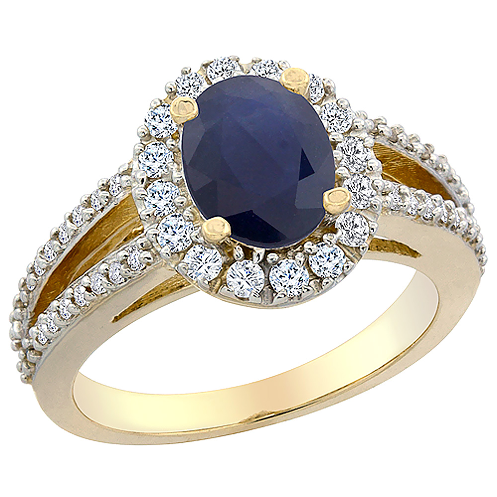 14K Yellow Gold Natural Australian Sapphire Halo Ring Oval 8x6 mm with Diamond Accents, sizes 5 - 10