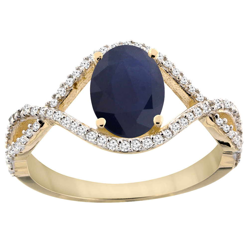 10K Yellow Gold Natural Australian Sapphire Ring Oval 8x6 mm Infinity Diamond Accents, sizes 5 - 10