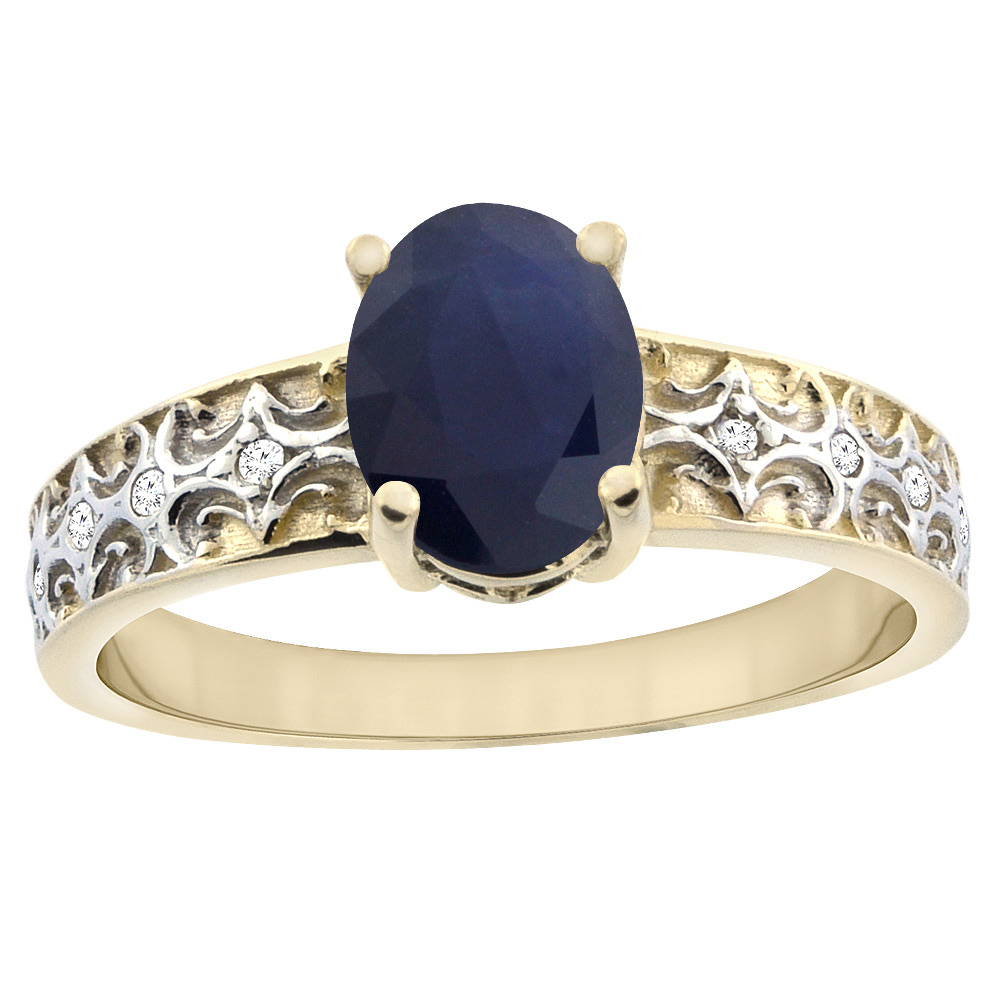 14K Yellow Gold Natural Australian Sapphire Ring Oval 8x6 mm Diamond Accents, sizes 5 - 10