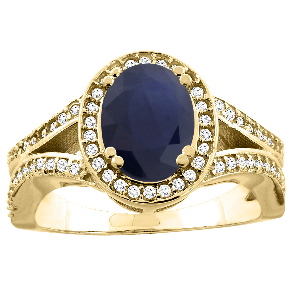 14K White/Yellow Gold Natural Australian Sapphire Split Ring Oval 8x6mm Diamond Accent, sizes 5 - 10