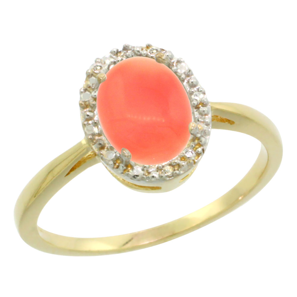 10K Yellow Gold Natural Coral Diamond Halo Ring Oval 8X6mm, sizes 5 10