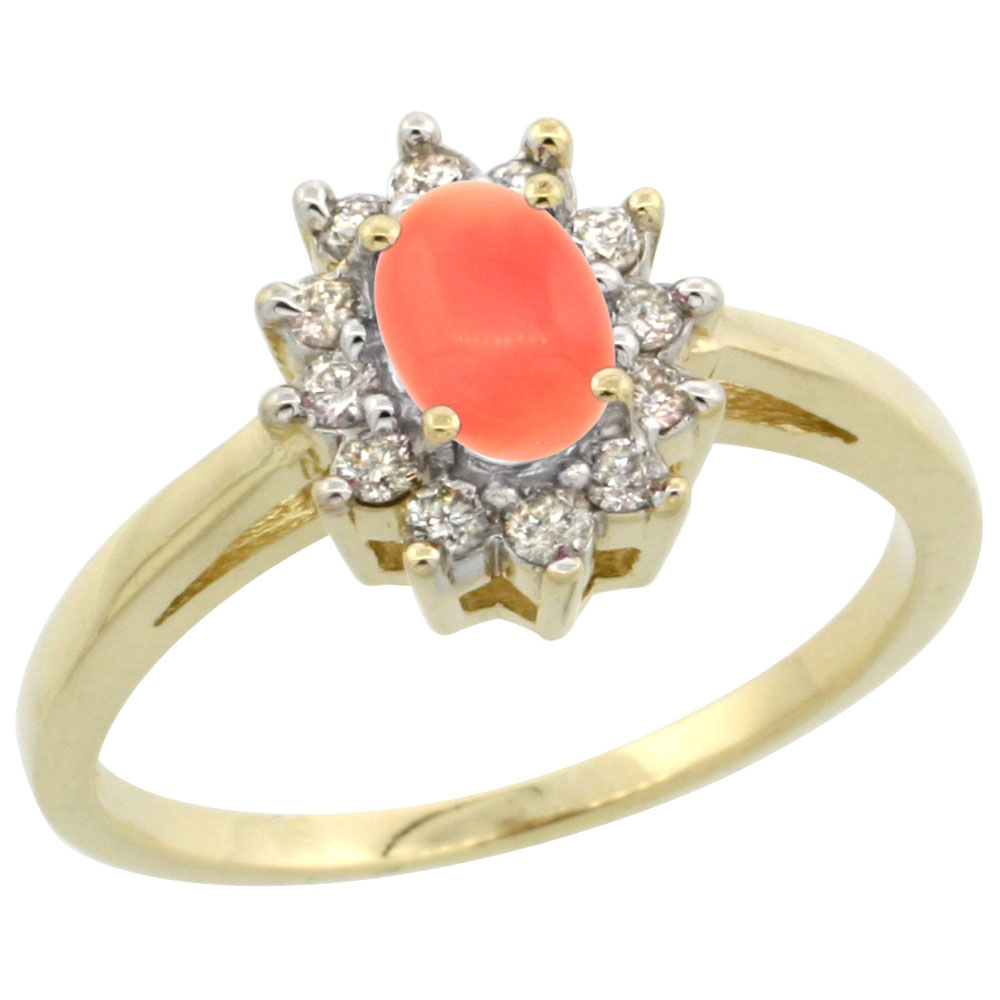 14K Yellow Gold Natural Coral Flower Diamond Halo Ring Oval 6x4 mm, sizes 5 10