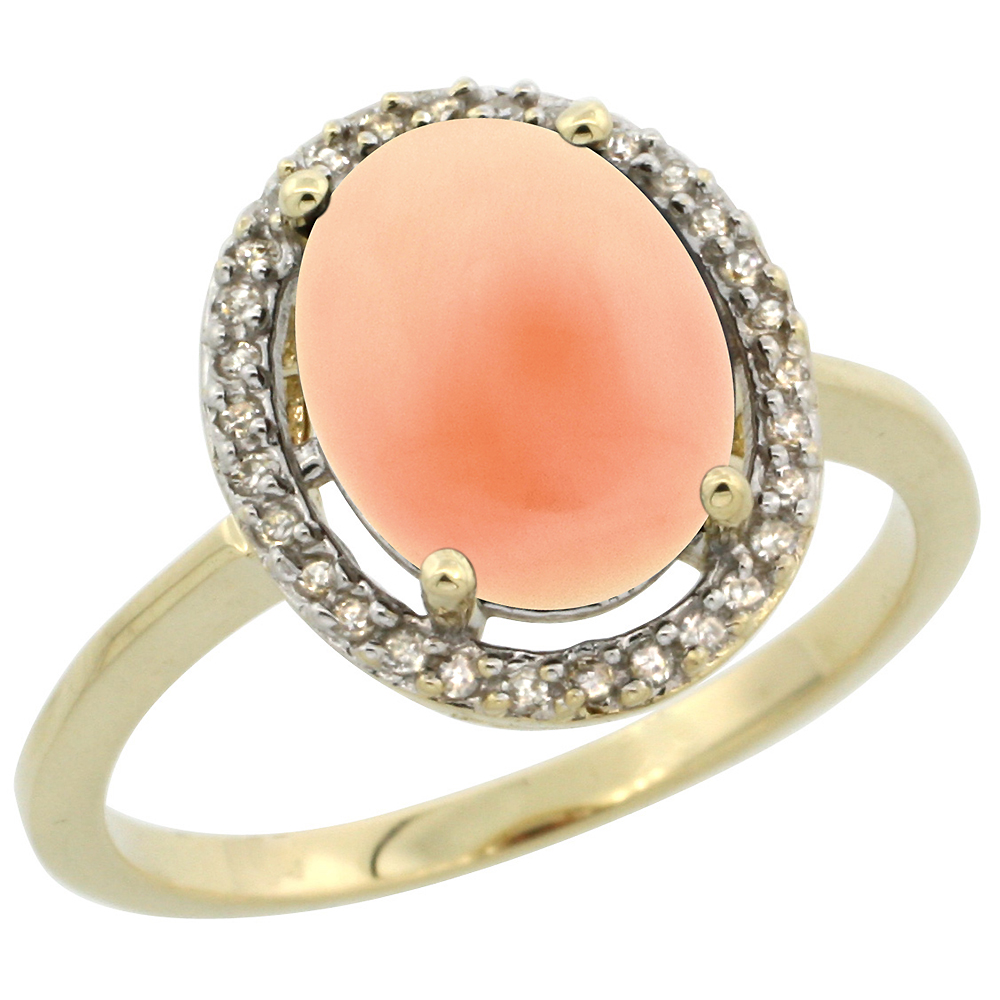 10K Yellow Gold Diamond Halo Natural Coral Engagement Ring Oval 10x8 mm, sizes 5 10