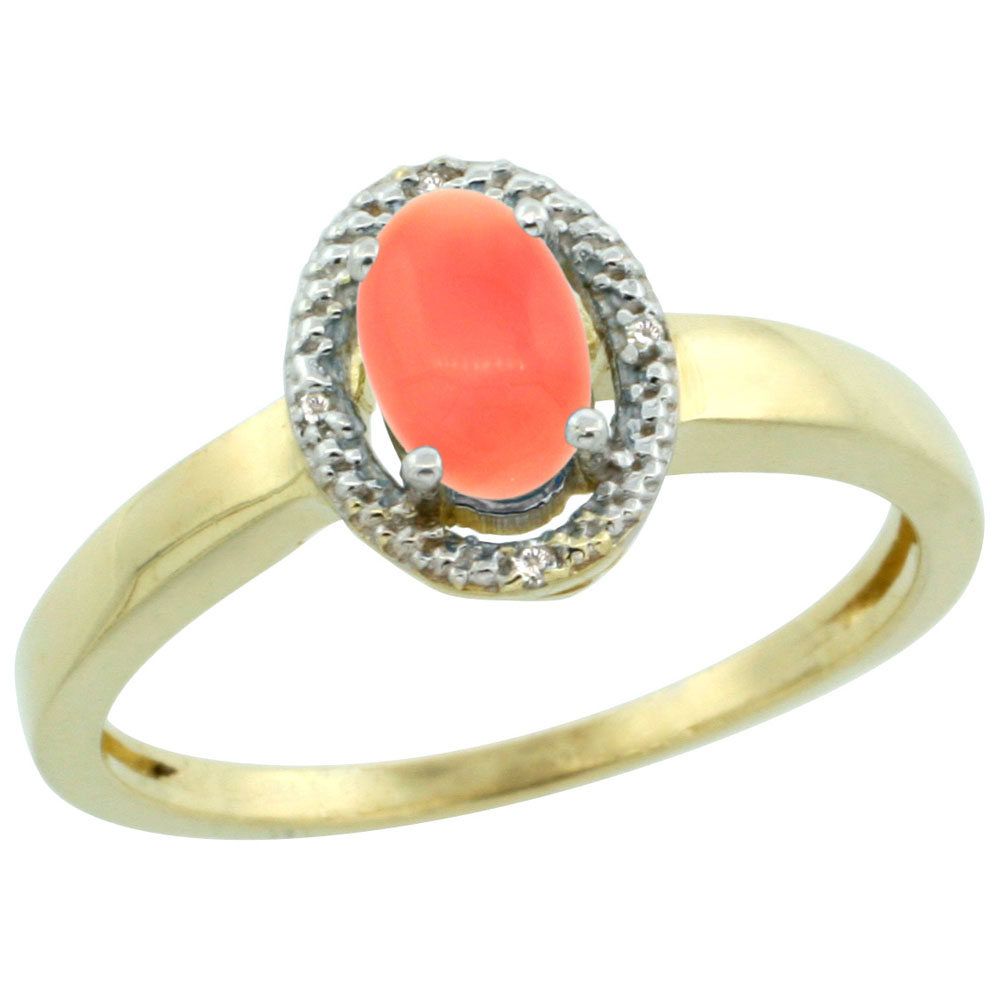 10K Yellow Gold Diamond Halo Natural Coral Engagement Ring Oval 6X4 mm, sizes 5-10