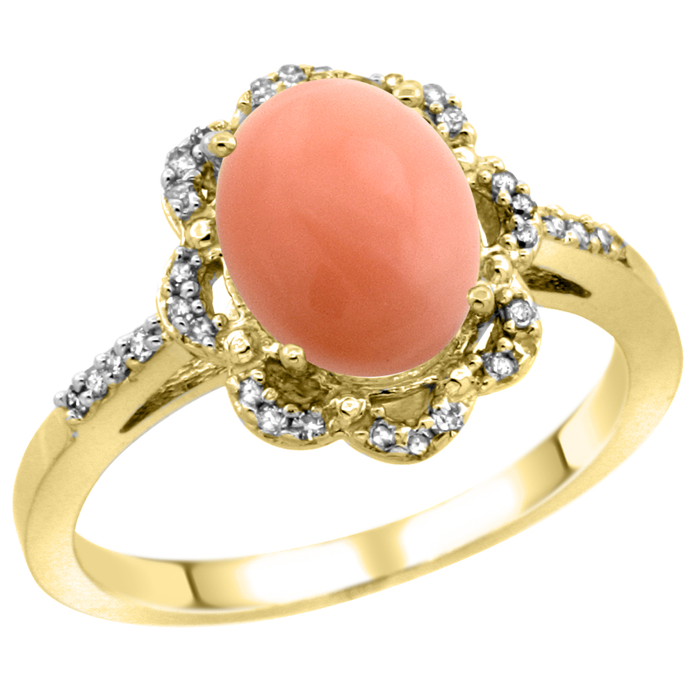 14K Yellow Gold Diamond Halo Natural Coral Engagement Ring Oval 9x7mm, sizes 5-10