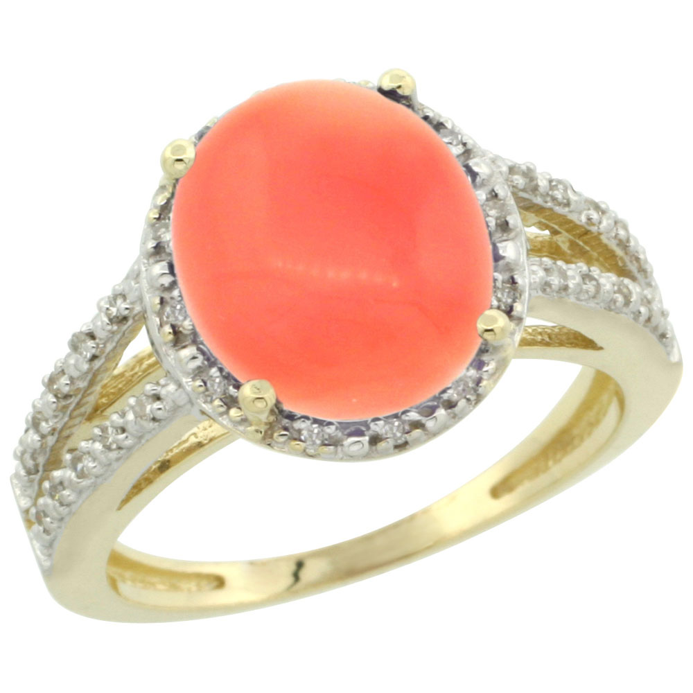 14K Yellow Gold Natural Coral Diamond Halo Ring Oval 11x9mm, sizes 5-10